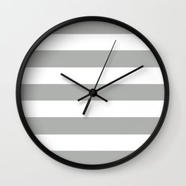 Silver foil - solid color - white stripes pattern Wall Clock