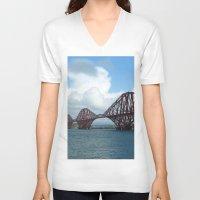 scotland V-neck T-shirts featuring Forth Bridge, Scotland by Phil Smyth