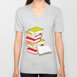 Stack OF Books Bookish Or Librarian Gift Unisex V-Neck