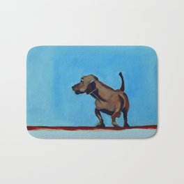 Doxie Dog in Red White and Blue Bath Mat