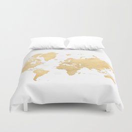 Gold world map with countries and states labelled Duvet Cover