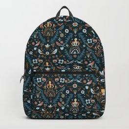 Teal and Tan Folk Milk Maid Pattern Backpack