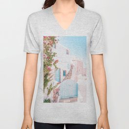 Santorini Greece Mamma Mia Pink House Travel Photography in hd. Unisex V-Neck
