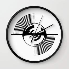 Experimentation with vector design on sphere glass reflection, 3D ambient. Version C. BW. Wall Clock