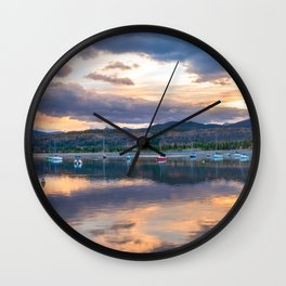 Calm Waters // Lake and Boats at Sunset Beautiful Landscape Photograph Scenic Mountain View Wall Clock