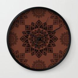 Sunflower Fractal - Terra Cotta Wall Clock