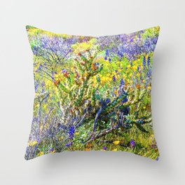 Staghorn Cholla Amid the Desert Wildflowers Throw Pillow