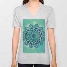 Green Blue Mandala Design Unisex V-Neck