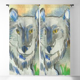Watercolor Wolf Blackout Curtain