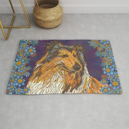 Rough Collie and Blue Flowers Rug