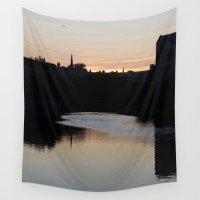 edinburgh Wall Tapestries featuring Sunset over Leith Edinburgh by RMK Creative