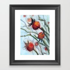 Rose Hips Abstract Watercolor Nature Framed Art Print