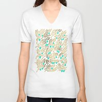 turquoise V-neck T-shirts featuring Gold & Turquoise Olive Branches by Cat Coquillette