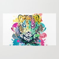 psychadelic Area & Throw Rugs featuring Tiger Splash by Geo Law