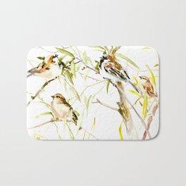 Sparrows neutral colored bird design birds, sparrows Bath Mat