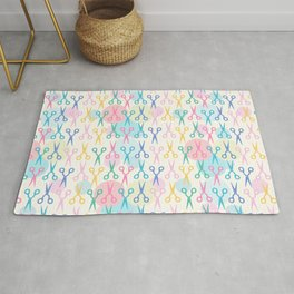 Hair Scissors Pastel Pattern Rug