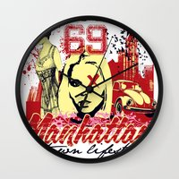 manhattan Wall Clocks featuring Manhattan  by Tshirt-Factory