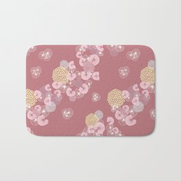 Floral Seamless Pattern on a Rusty Pink Background Bath Mat