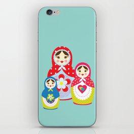 Turquoise babushka , matryoshka , russian doll , nursery decor , children gift, birthday gift iPhone Skin