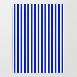 Cobalt Blue and White Vertical Deck Chair Stripe Poster