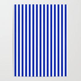 Cobalt Blue and White Vertical Deck Chair Stripe Poster