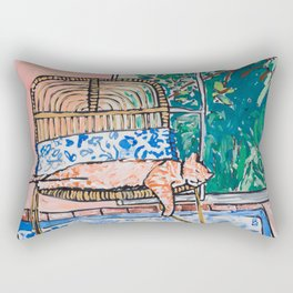 Napping Ginger Cat in Pink Jungle Garden Room Rectangular Pillow