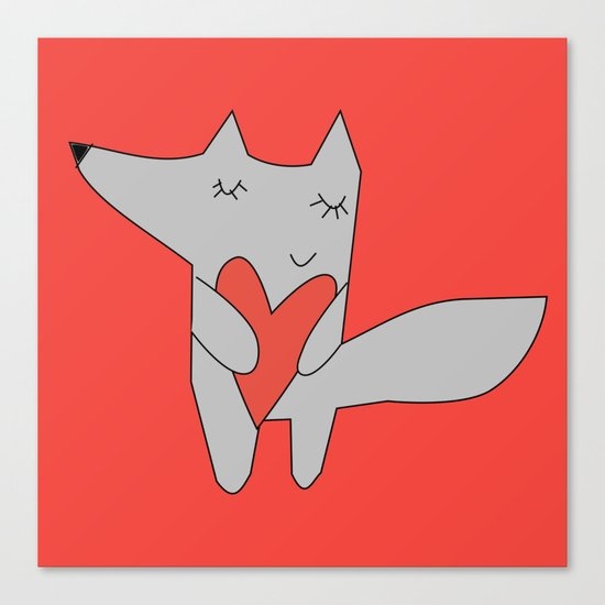 Fox in love red Canvas Print