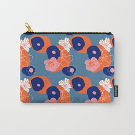 Hibiscus Trionium Wood Block Pattern Carry-All Pouch
