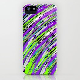curly line pattern abstract background in purple and green iPhone Case