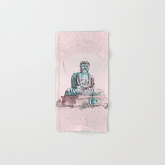 Peace and Harmony watercolor buddha pastel illustration Hand & Bath Towel