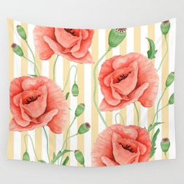 Red Poppies Beige Stripes Wall Tapestry