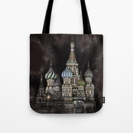 Saint Basil's Cathedral - red sky, Moscow, Russia Tote Bag