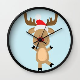 Dancing Rudolph Red Nosed Reindeer Merry Christmas Wall Clock