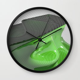 Waving green mathematical surface Wall Clock