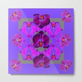 Modern  Abstracted Dark Purple Moth Orchids  Lavender Art Metal Print