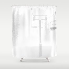 Mountain High // Riding the Chairlift Copper Mountain Colorado Foggy Snow Climb Shower Curtain