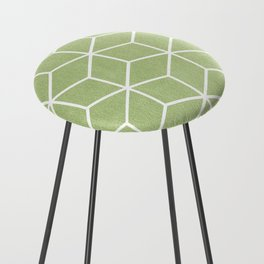 Lime Green and White - Geometric Textured Cube Design Counter Stool