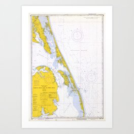 Vintage Map of The Outer Banks NC (1972) Art Print