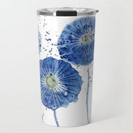 four blue dandelions watercolor Travel Mug