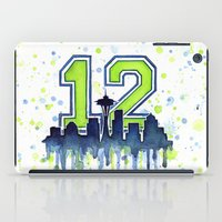 seahawks iPad Cases featuring Seattle 12th Man Art Skyline Watercolor  by Olechka