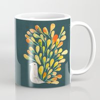 peacock Mugs featuring Watercolor Peacock by Picomodi