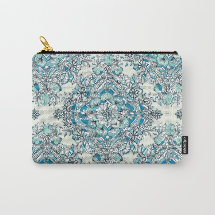 Floral Diamond Doodle in Teal and Turquoise Carry-All Pouch