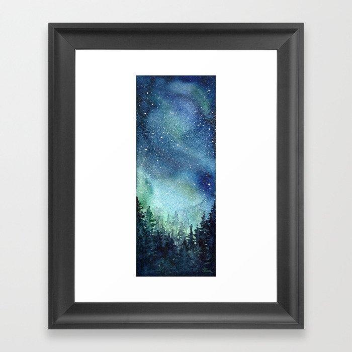 Galaxy Watercolor Aurora Borealis Painting Gerahmter Kunstdruck