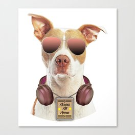 Cool music dog with Access All Areas Canvas Print