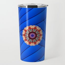 Monserrat Diamond Mandala With Blue Ribbon Backdrop Travel Mug