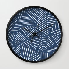 Abstraction Linear Zoom Navy Wall Clock