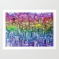 hong kong Art Prints featuring Hong kong by 2tehmax
