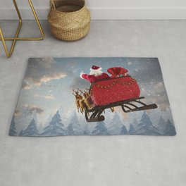 Santa Claus ride on reindeer sleigh with christmas gifts against snow falling on fir tree forest Rug