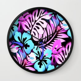 Hawaiian Flowered Shirt Print Pink Blue Wall Clock
