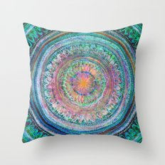 Pink and Turquoise Mandala Throw Pillow